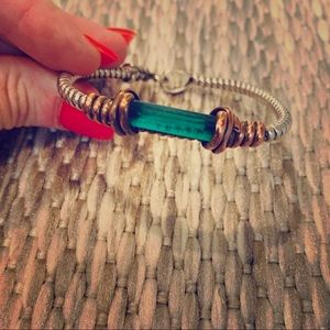 Tourmaline Sterling Silver/Copper Bracelet